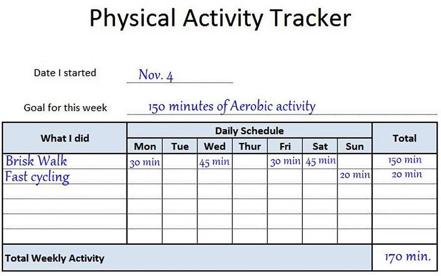 chart to track your physical activities on a daily basis