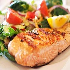 a plate with veggies and salmon, healthy eating