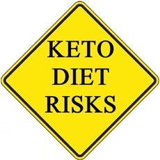 yellow traffic sign saying keto diet risks
