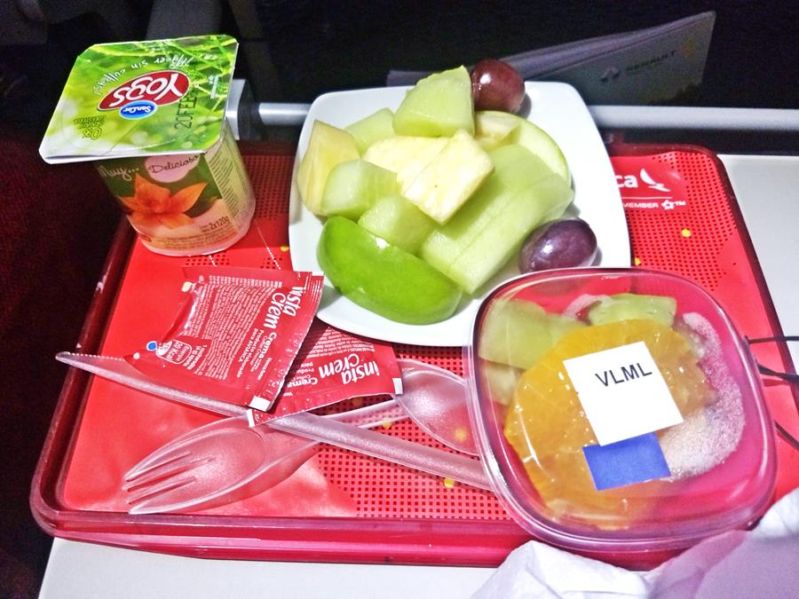 inflight vegetarian meal fruit, yogurt