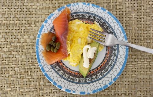 smoked salmon, capers, avocado and scrambled eggs, a typical keto breakfast