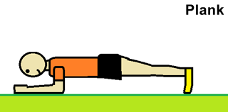 a drawing showing a man performing the plank