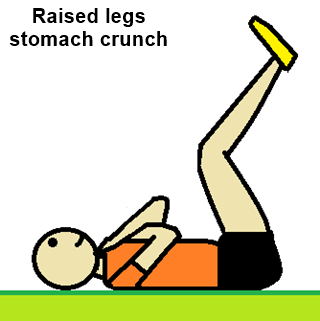 a drawing showing a man performing the Stomach Crunch with raised legs
