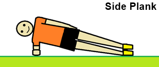 a drawing showing a man performing the side plank