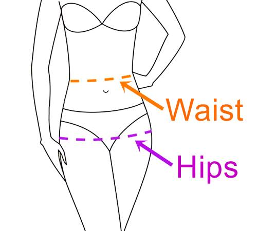Sketch of a person showing where to measure waist and hip sizes