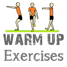 linkt to webpage. Text says: warm up exercises