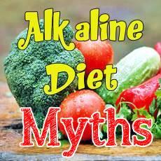 alkaline diet foods and text: Alkaline Diet Myths