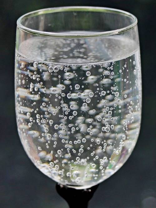 glass full of sparkling water