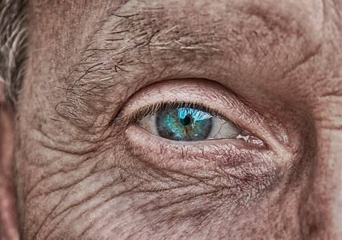 Blue-eyed man's face with very wrinkled and weathered skin