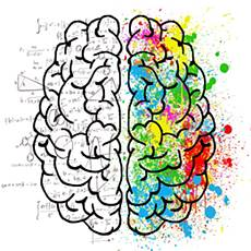 drawing of brain with each hemisphere: numbers, formal thought and art, abstract thought